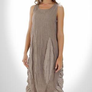 Yea Checker Patched Sleeveless Dress Wearable art